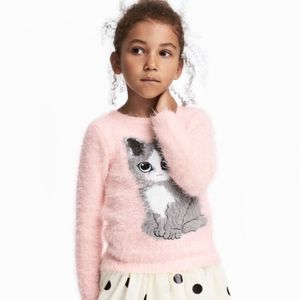 H&M Shirts & Tops - H&M baby pink fluffy sweater with cat